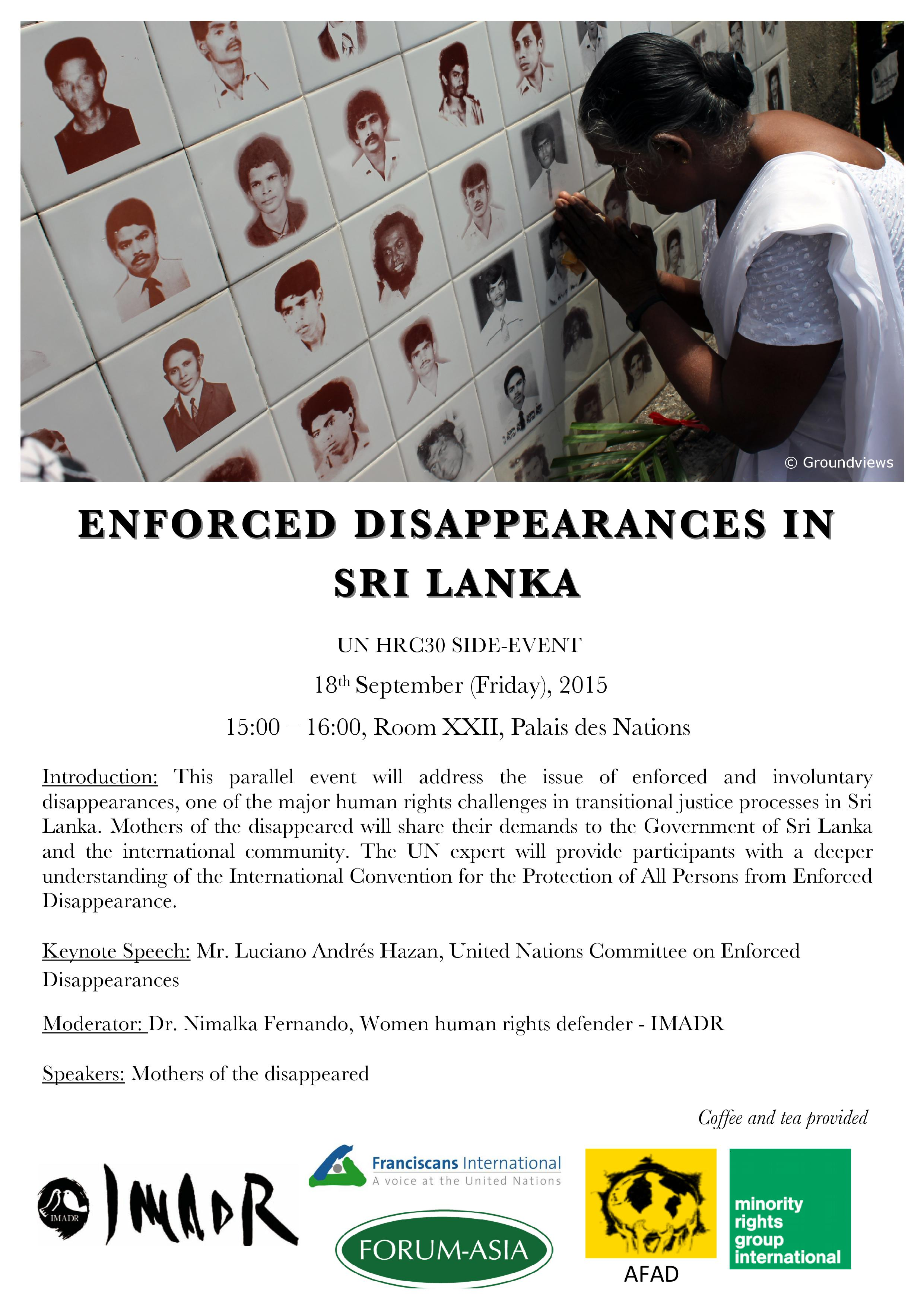 Invitation - HRC 30 side event_Enforced Disappearances in Sri Lanka (3pm, Fri 18 September 2015 @ Room XXII)