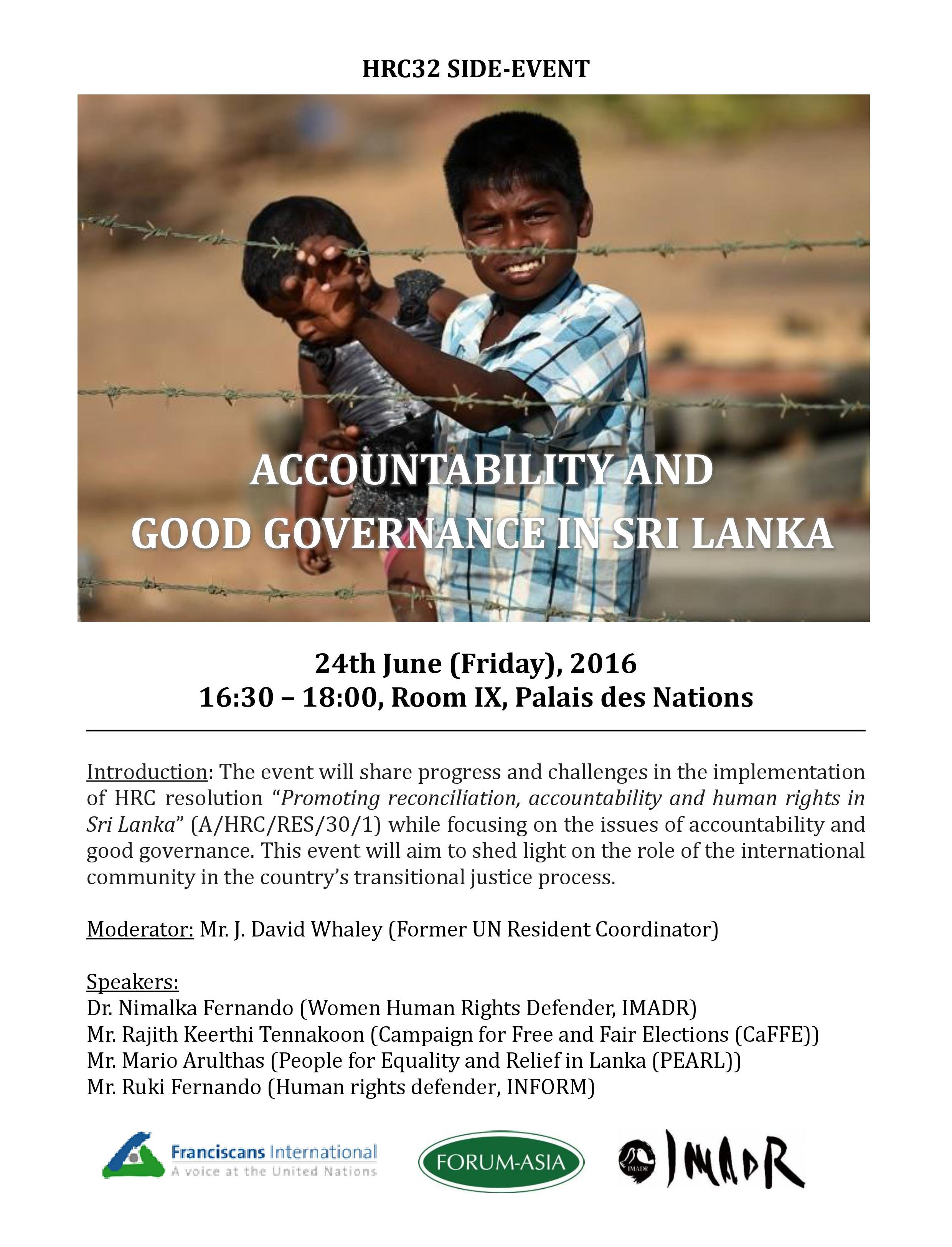 Invitation - HRC32 side event_Accountability and Good Governance in Sri Lanka (4.30pm, 24 June 2016, Room IX)