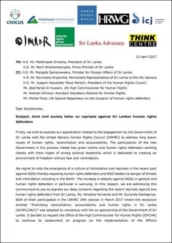 Joint civil society letter on reprisals against Sri Lankan human rights defenders_12April2017